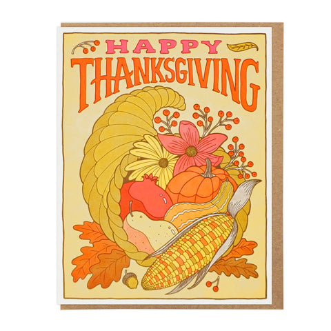 HAPPY THANKSGIVING CORNUCOPIA Letterpress Card