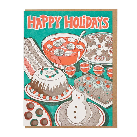Happy Holidays Party Food Cards Box set of 6