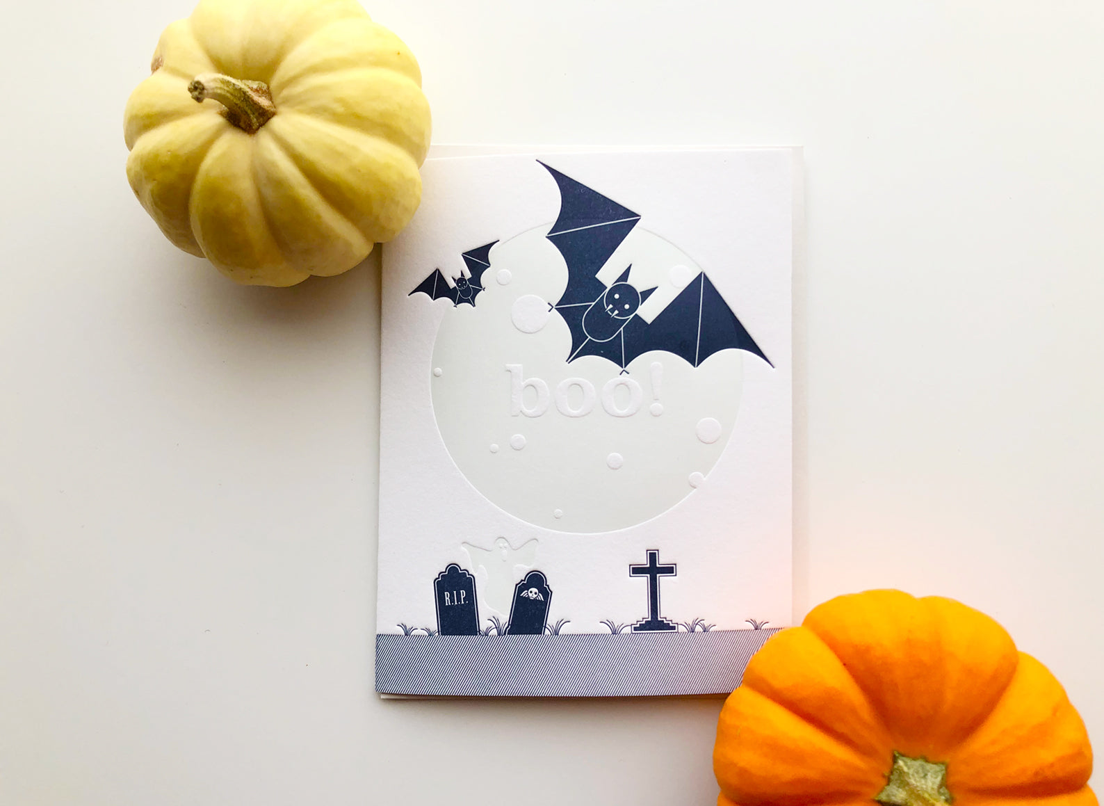 Bats Moon Boo Halloween Letterpress Card