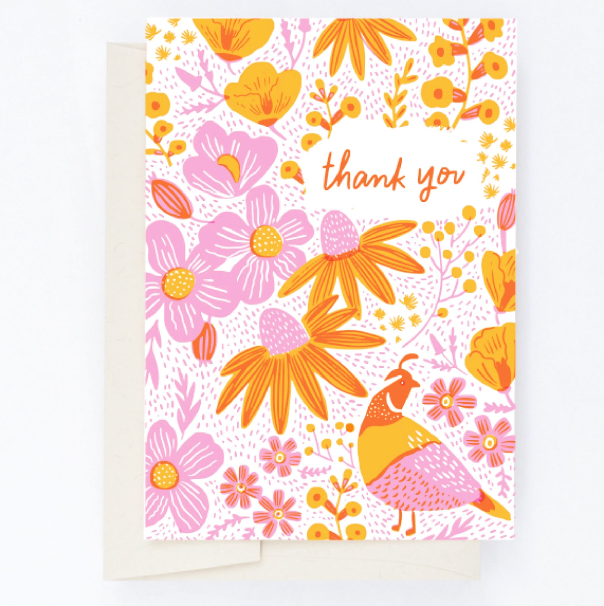 CALIFORNIA FLORA POPPIES THANK YOU LETTERPRESS CARD