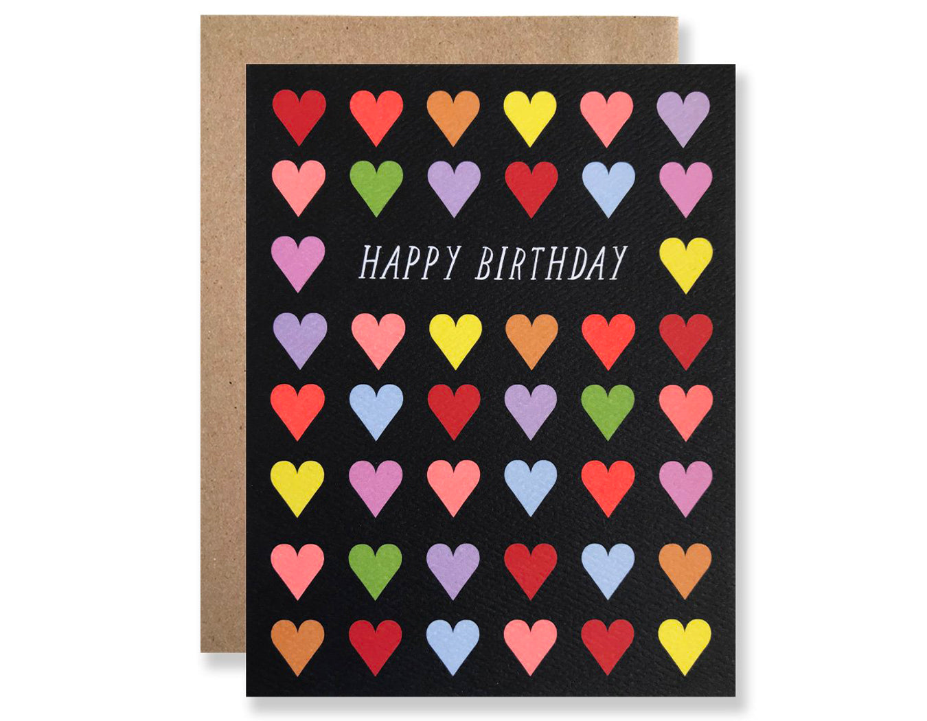 black background colorful rows of hearts text reads happy birthday