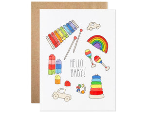 classic baby toy illustrations with the text hello baby!