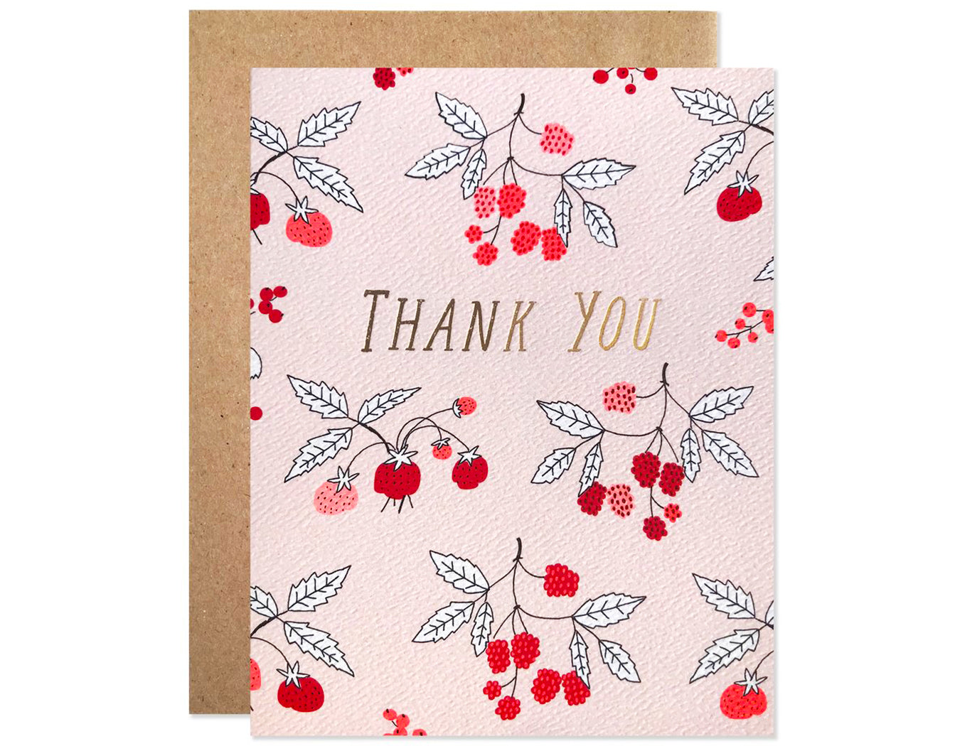 berries on pale pink background text reads thank you in gold foil
