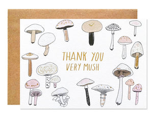 illustrated mushrooms surround text that reads thank you very mush in gold foil