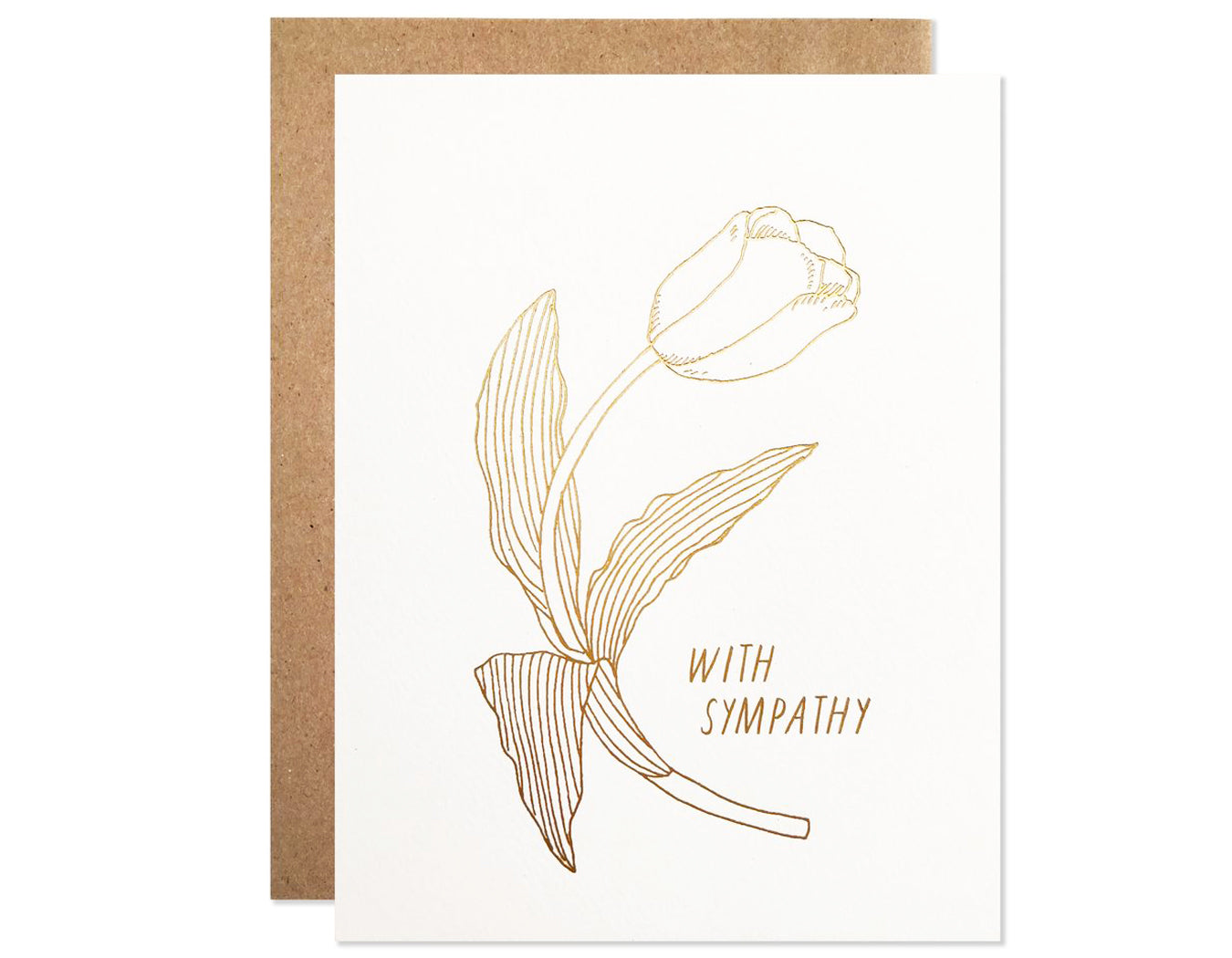 gold foil tulip  text that reads with sympathy