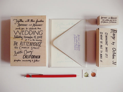 Custom Hand lettered Wedding Invitation Rubber Stamp