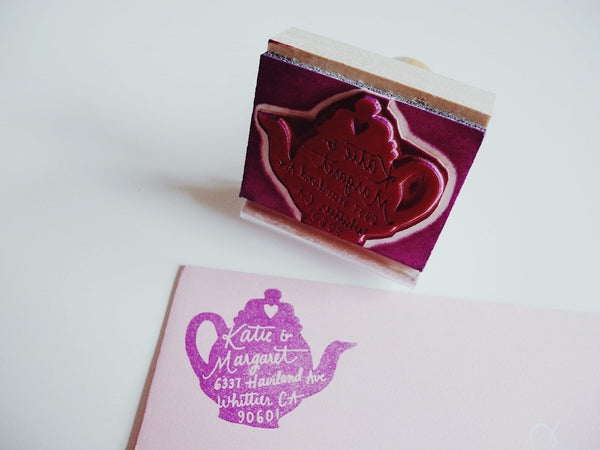 Custom Tea Pot Return Address Stamp