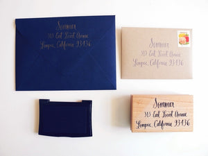 Extra Large Custom calligraphy return address stamp