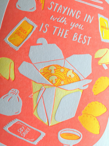 Staying In Chinese Takeout Love Letterpress Card