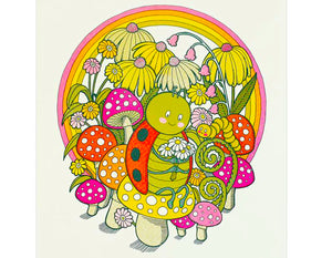 art print featuring rainbow flowers and a ladybug sitting on a mushroom with a caterpillar
