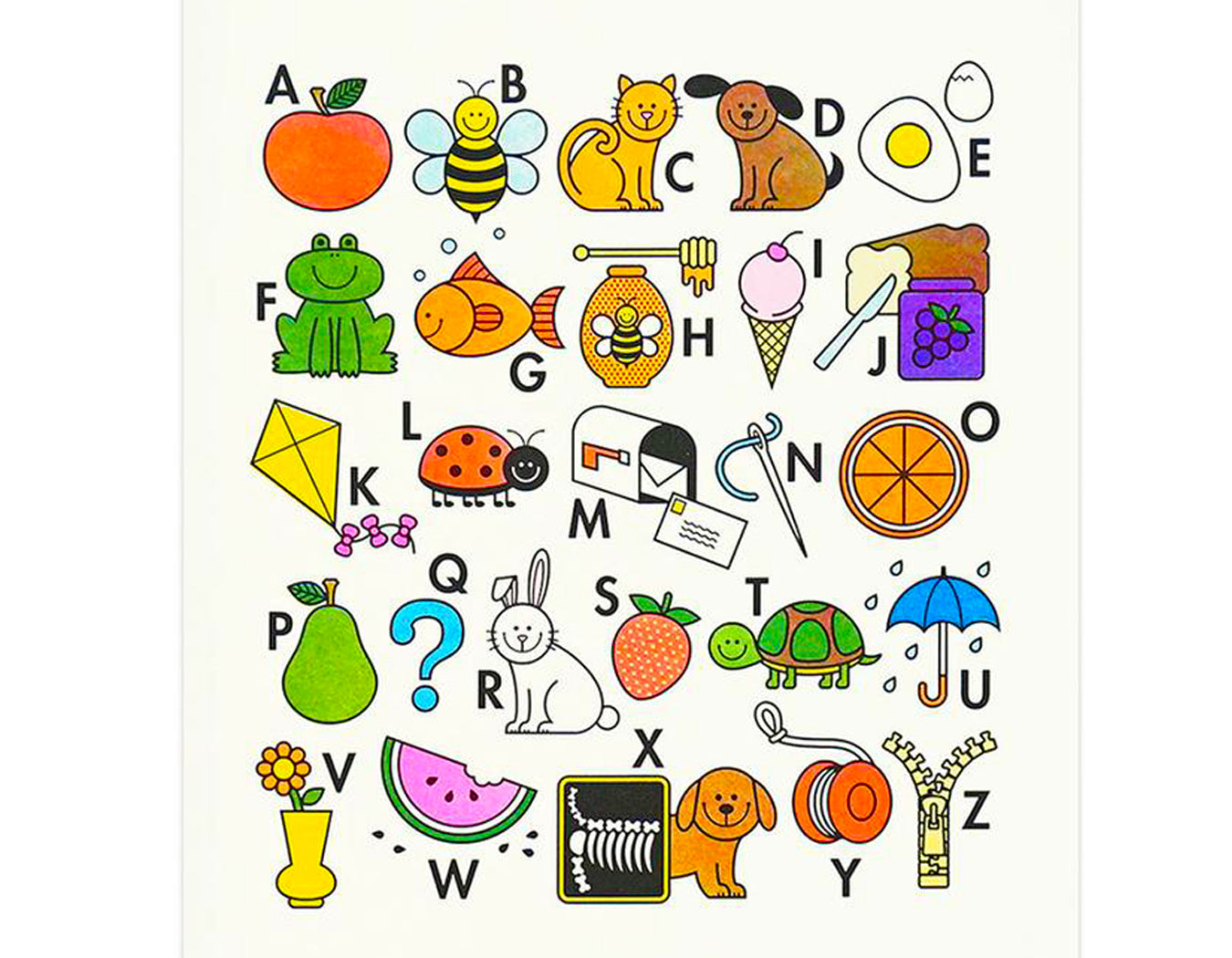 SWEET ILLUSTRATIONS TO COORDINATE WITH THE ALPHABET. APPLE BEE CAT DOG EGG FROG FISH HONEY ICE CREAM JAM KITE LADYBUG MAIL AND MAILBOX NEEDLE ORANGE PEAR QUESTION MARK RABBIT STRAWBERRY TURTLE UMBRELLA VASE WATERMELON XRAY YO YO AND ZIPPER
