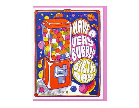 bubble gum machine illustration text reads have a very bubbly birthday!
