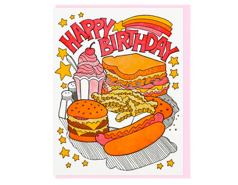 happy birthday card with milkshake, sandwich, french fries, hamburger, hot dog and salt and pepper shakers