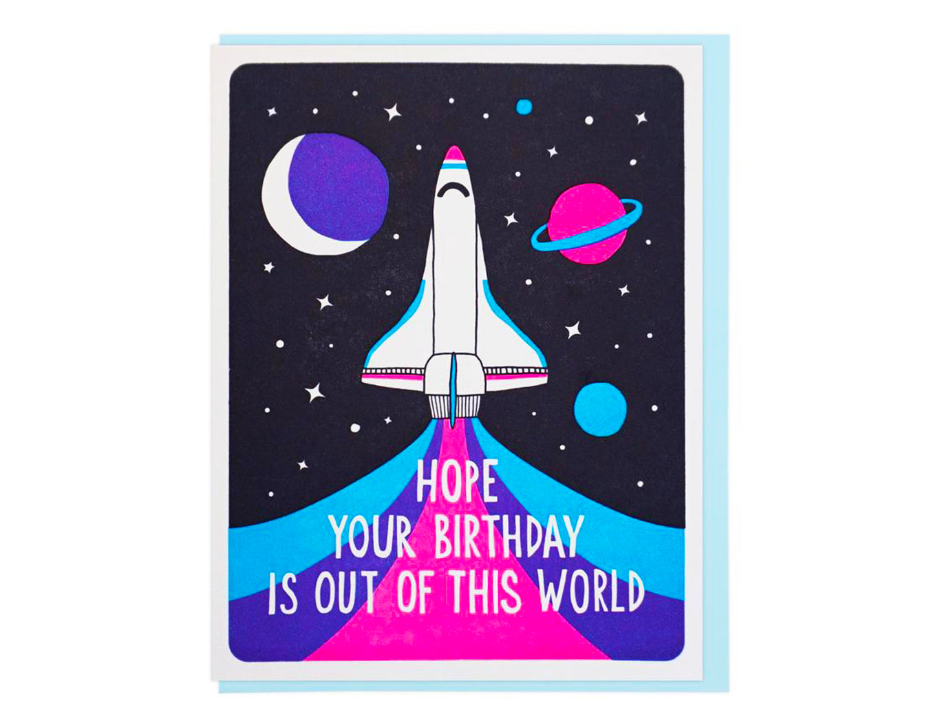 ROCKET BLASTING OFF INTO SPACE TEXT READS HOPE YOUR BIRTHDAY IS OUT OF THIS WORLD