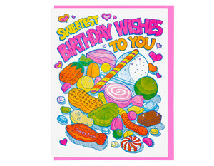 illustrations of candy and sweets text reads sweetest birthday wishes to you