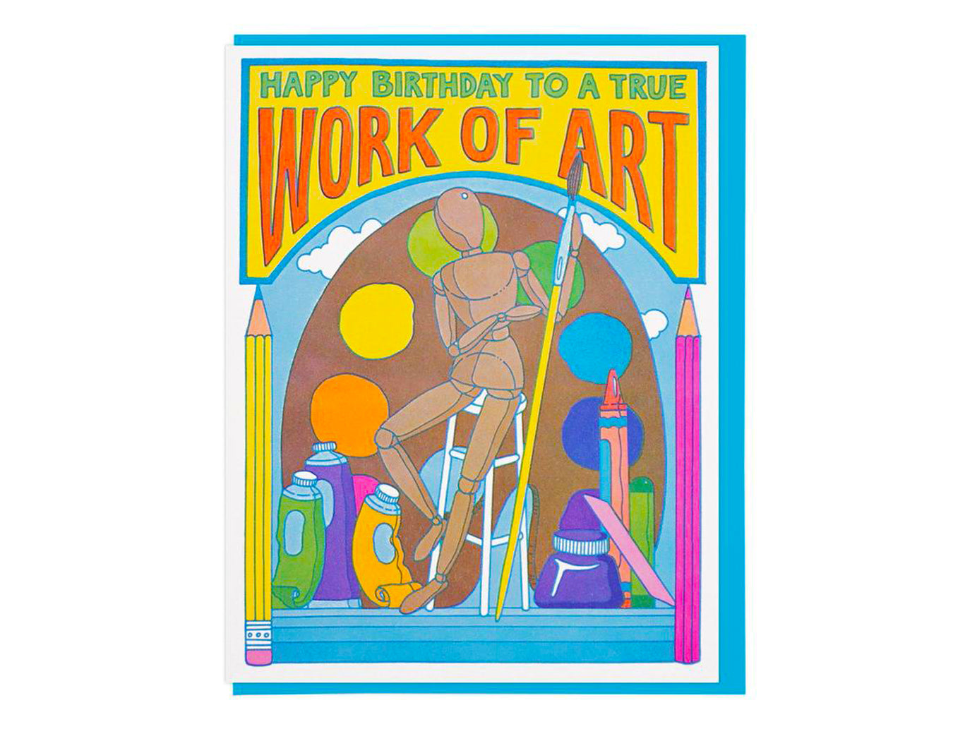 text reads happy birthday to a true work of art features art supply illustrations.
