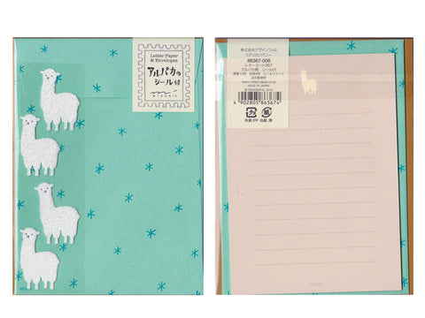 Japanese stationery set with alpaca design