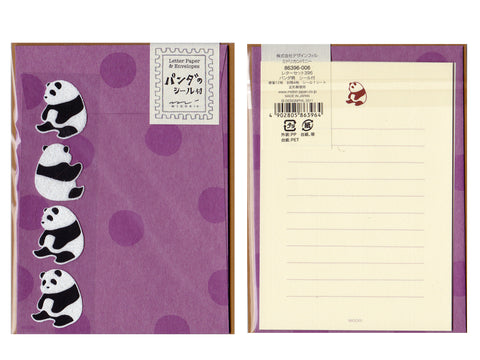 Midori Panda Stationery Set with stickers
