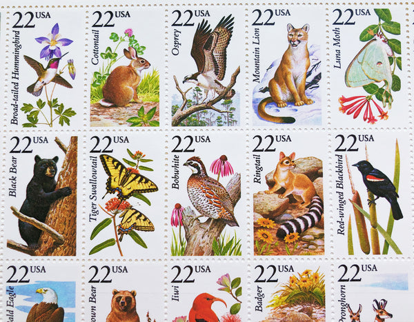 North American Wildlife Full Sheet Vintage Postage