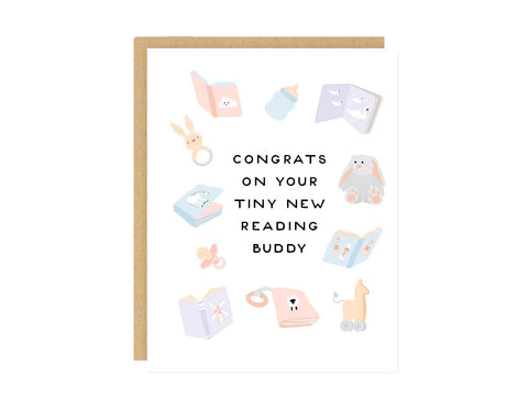 Baby Books Ready Buddy Card - baby shower, new parents, expecting, pregnancy, gender neutral, funny, parenthood