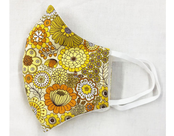 Retro Yellow Flowers Reusable Face Mask
