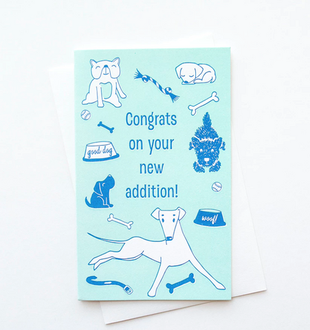 Congrats dog letterpress new puppy adoption card
