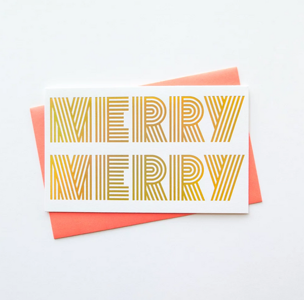 merry merry holographic gold foil holiday card