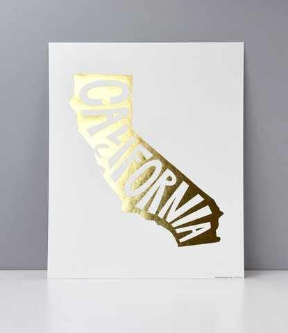 CALIFORNIA FOIL LETTERPRESS ART PRINT
