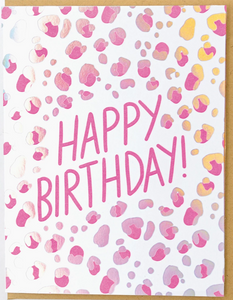 Leopard Happy Birthday LETTERPRESS CARD