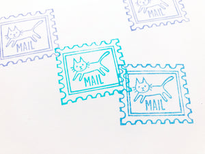 cat postage stamp style rubber stamp.