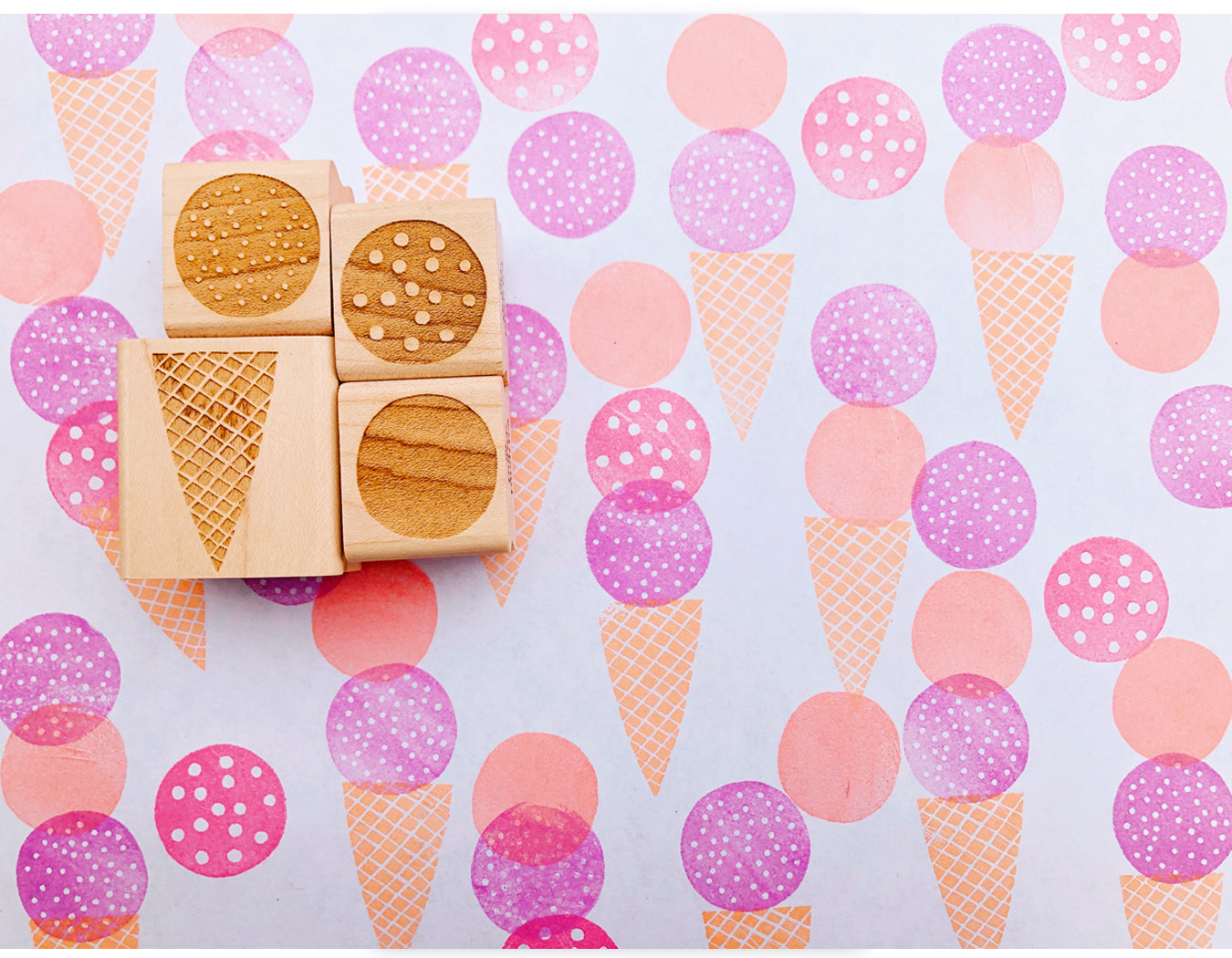 ice cream cone rubber stamp set contains 3 ice cream scoop stamps + 1 ice cream cone stamp.