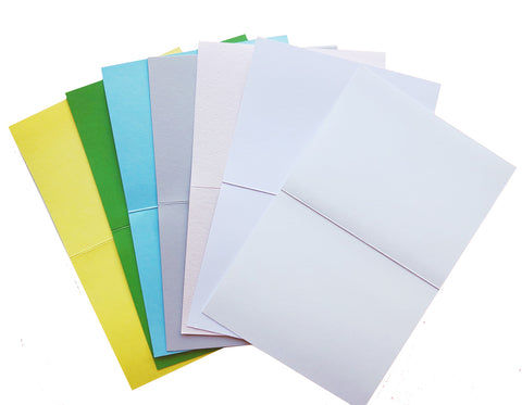 Choose from sunshine, clover, pool, cement, luxe blush, eco white or white notecards.