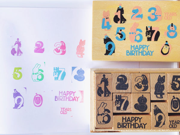 Animal Number Rubber Stamp Set