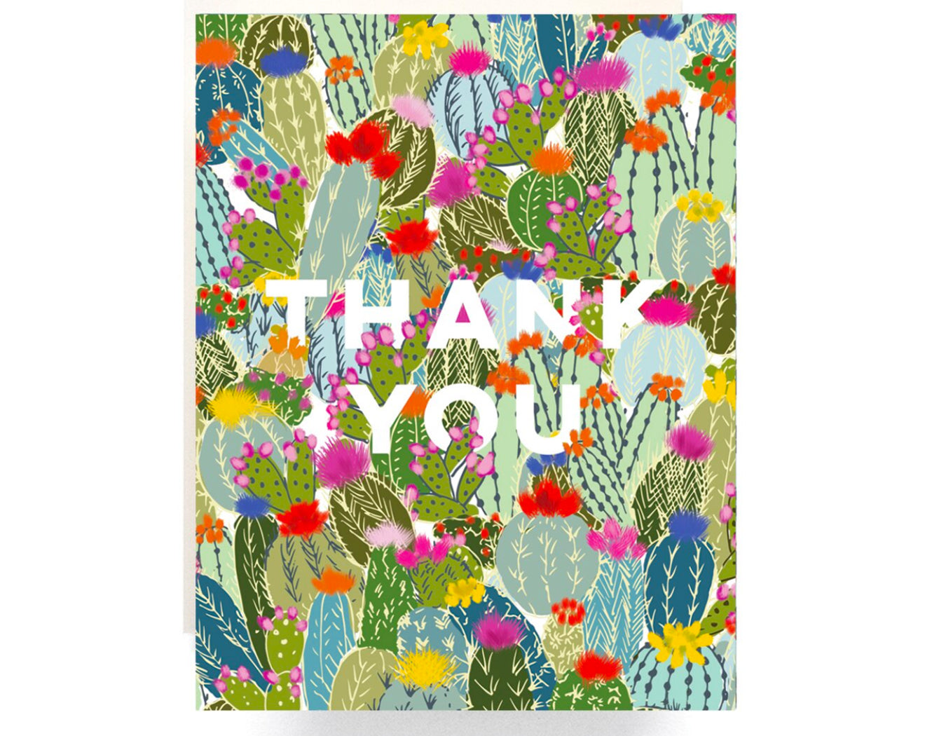 cactus fills up entire front of card text reads thank you in white