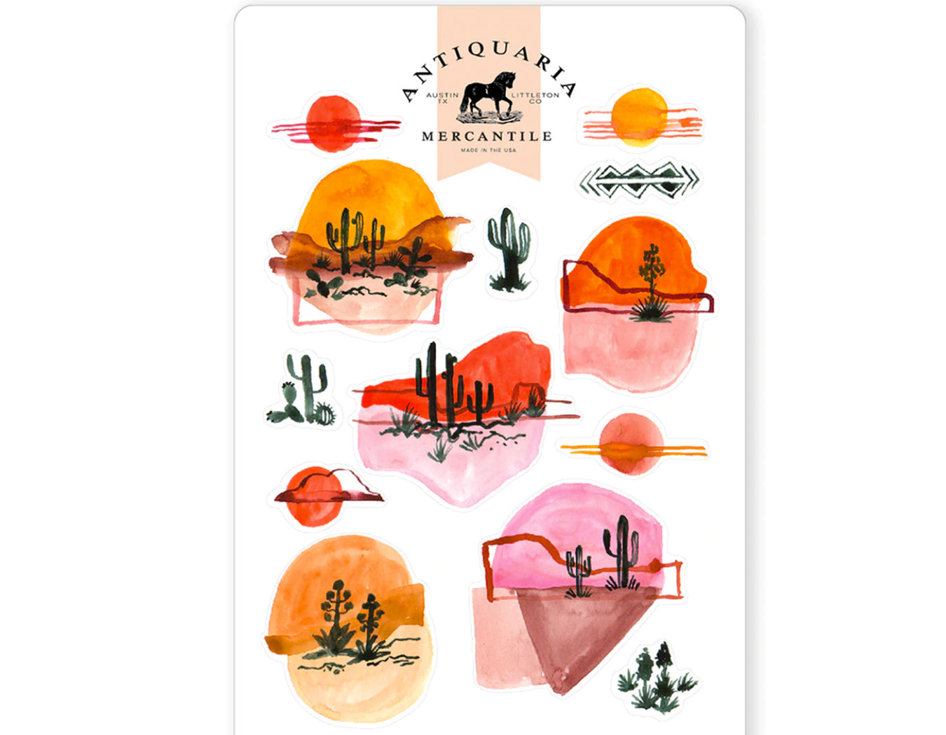 stickers of desert landscapes made from watercolor drawings