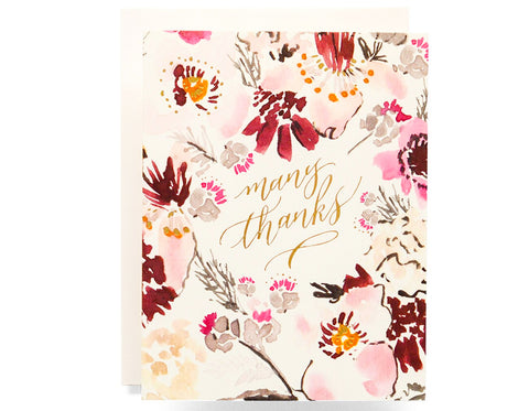 cream background with watercolor florals surrounding text that reads many thanks in gold foil