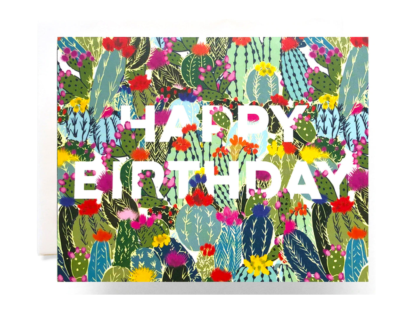 a2 sized card full color printed filled up with cactus text reads happy birthday in white