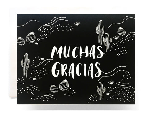 black background with cactus illustrations text reads muchas gracias