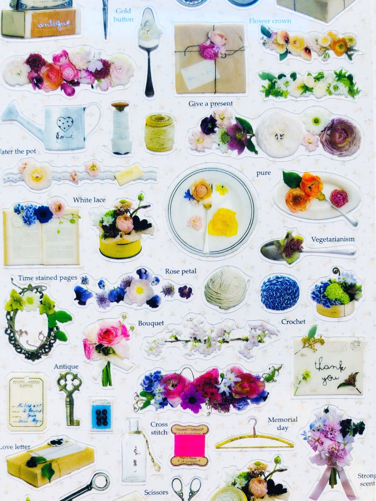 Antique Floral Theme Stickers