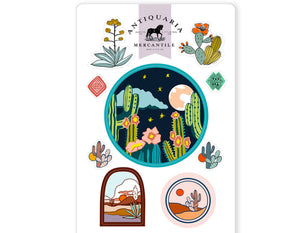cactus desert scene sticker sheet
