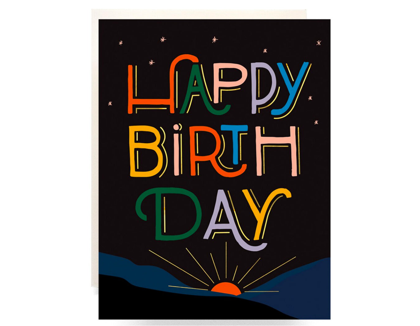 black background, at bottom is a graphic sunrise text reads happy birthday in colorful letters