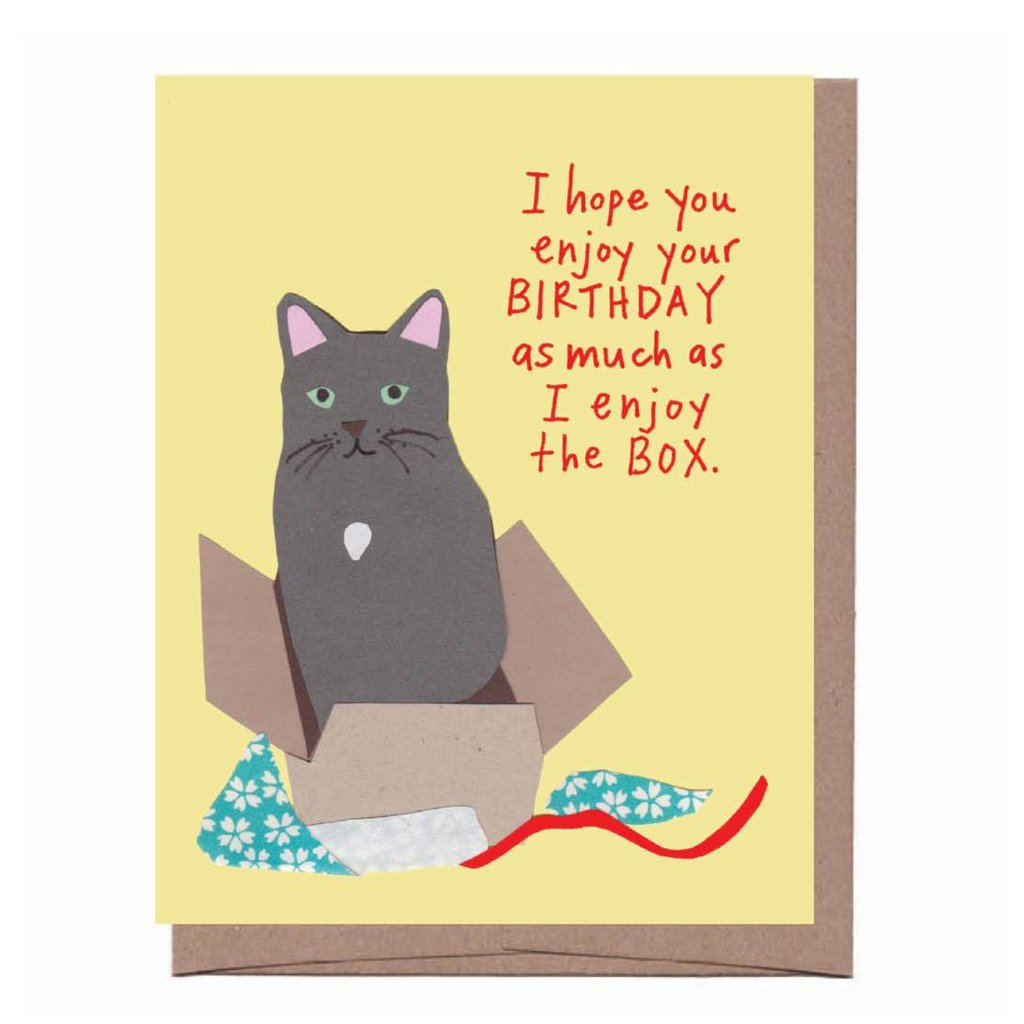 CAT IN A BOX Birthday Card