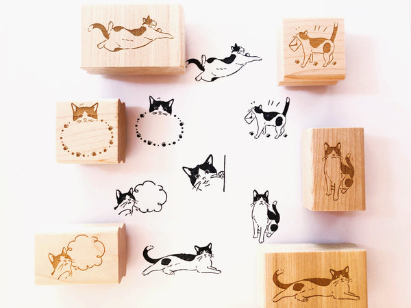 Black and White Cat Rubber Stamps