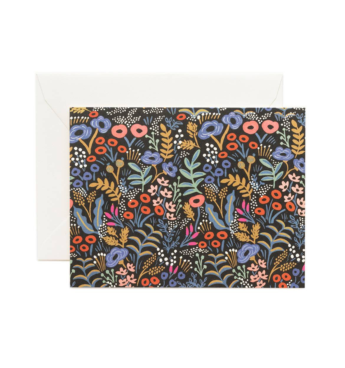 Black Tapestry Floral Everyday Greeting Card