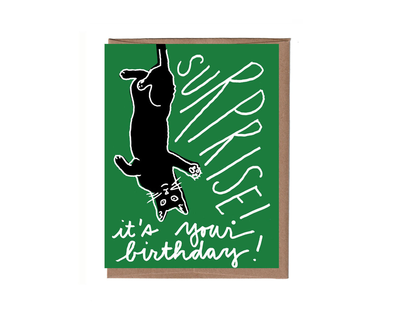 Black Cat Surprise Birthday Card