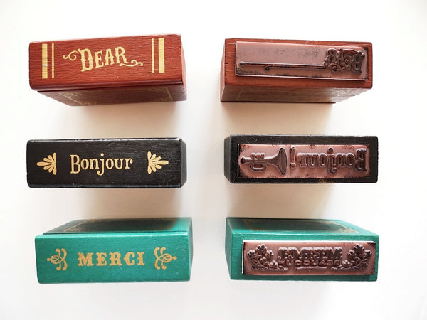 Wooden Book Shaped Greetings Rubber Stamp
