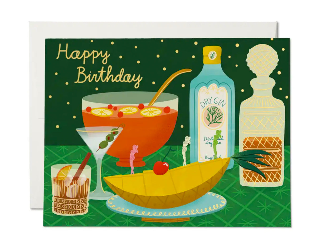 vintage inspired illustration of classic cocktails and a punchbowl. Says happy birthday in gold lettering.