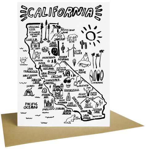 California Map Letterpress Card