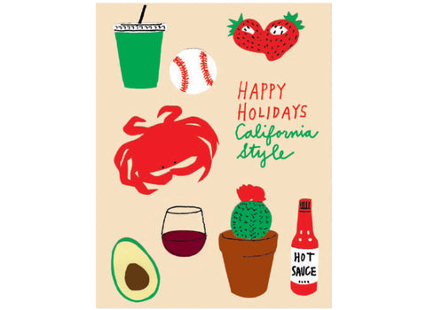 beige background strawberries, green juice, baseball, crab, red wine, cactus, hot sauce, avocado. text reads happy holidays california style