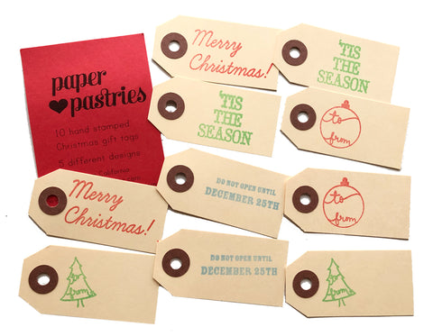 set of 10 hand stamped gift tags 5 different designs 2 tags each. merry christmas, 'tis the season, ornament to and from, do not open until december 25, tree outline to from